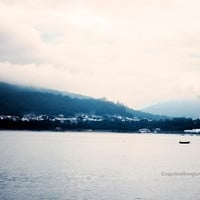 landscape photography - mountain photography - blue haze morning mist - pink sky - river and sail boat - fine art photography -  home decor