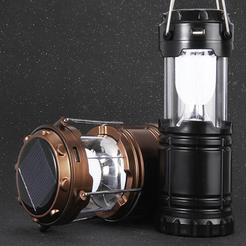 2016 6 LED Hand Portable Lamp Collapsible Solar Lantern Tent Light for Hiking Camping Emergencies Hurricanes Outdoor Lighting