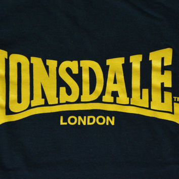 Vintage Black Lonsdale London T-Shirt - Retro Cotton Tee Size M Medium