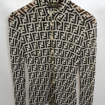 Vintage Fendi Zucca/ Fendi Monogram/ Fendi Italy/ Fendi Long Sleeve Shirt XXSmall/ Fendi See Through Shirt