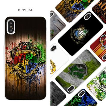 BINYEAE Harry Potter Slytherin School Crest Hard White Phone Case Cover Coque Shell for iPhone X 6 6S 7 8 Plus 5 5S SE 4 4S 5C