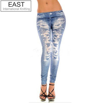 East Knitting Free Shipping B7 Women's FASHION Punk Women Front Fake Hole Sexy Leggings Hot