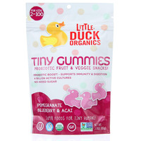 Little Duck Organics Probiotic Fruit And Veggie Snacks  Organic  Tiny Gummies  Pomegranate Blueberry And Acai  Ages 2 Years Plus  3 Oz  Case Of 6