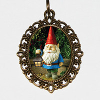 Garden Gnome Necklace Oval Pendant