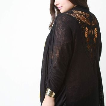 Embroidery Lace Back Cardigan