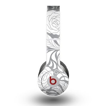The Gray Floral Pattern V3 Skin for the Beats by Dre Original Solo-Solo HD Headphones