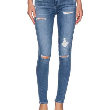 Blue High Waist Ripped Skinny Denim Pants