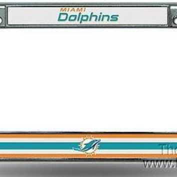Miami Dolphins NEW LOGO Metal Chrome Frame License Plate Tag Cover NFL Football