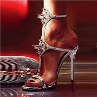 Shoespie Metallic Style Pointed Rivets Dress Sandals