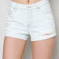 PacSun Scratch Blue Ripped Mid Rise Cutoff Denim Shorts