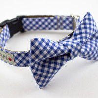 Royal Blue Gingham Bow Tie Dog Collar