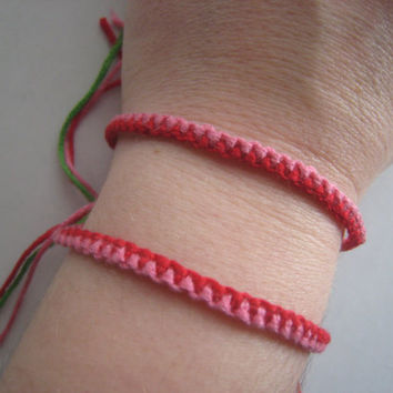 PINK & Red Friendship Bracelet SET  Zipper Style  by greenyogini