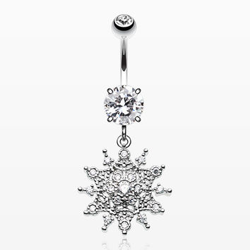 Glistening Sparkle Sunburst Belly Button Ring