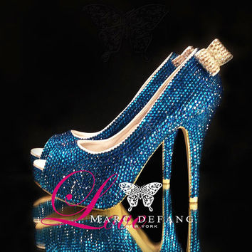 Capri blue crystals Peep Toe Heels, Embellished Clear Crystals Back Bows