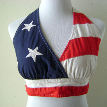 90s AMERICAN FLAG halter top vintage Tommy Hilfiger cotton hippie boho festival crop top size M/L medium large rocker chic stars stripes