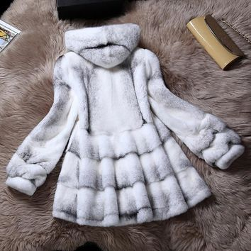 2017 new Haining mink fur coat long sleeves mink coat female whole mink long section hooded season