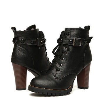Black High Heel Martin Buckle Gothic Punk Ankle Boot