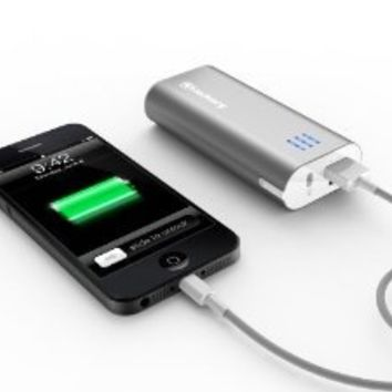 Jackery Bar Premium 6000 mAh External Battery Charger - Portable Charger and Power Bank with Panasonic Battery Cells and Aluminum Shell for iPhone, iPad, Galaxy & Other Smart Devices (Sliver)
