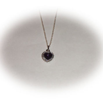 Purple heart crystal sterling silver chain necklace