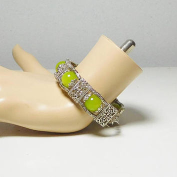Light Green Jade Silver Bangle Bracelet Stacked 3 Layers 7 Inch Wrist Beaded Tibetan Ethnic Tribal Bohemian Gypsy Hippie Boho Jewelry