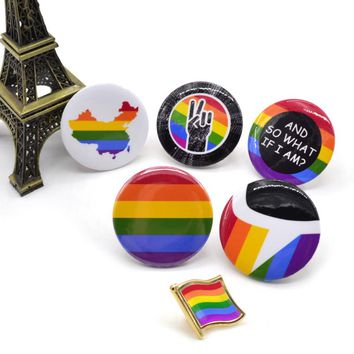 Lychee 1 piece New Arrival Metal Plastic Gay Pride Rainbow Brooch Pin Anti-discrimination Badge