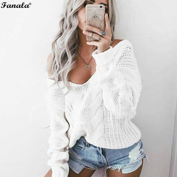 Women's Winter Sweater Knitted 2017 Casual Christmas Sweater V Neck Long Sleeve Loose Fit