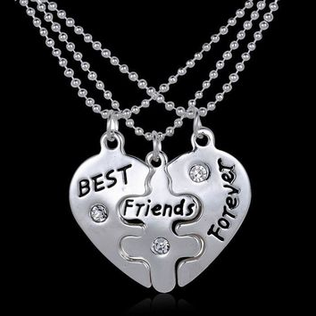 2pcs/lot puzzle necklace HandStamped Jewelry Mothers Grandma Sister Mom Family Tree necklace Custom Personalized BFF Best Friend