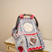 Car Seat Canopy, Sports Blanket, Rag Quilt, In Red, Blue, Gray, Black. Featuring Your Choice of Sports, Custom, Made to Order