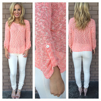 Coral Knit 3/4 Sleeve Button Top