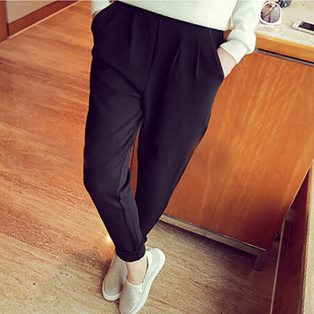 Weljuber Summer Women Casual Pants & Capris Chiffon Harem Cargo Pants Elastic Waist Female Trousers Plus Size