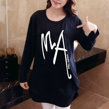 women 2018 new autumn winter Hoodies & Sweatshirts casual pullover long sleeve loose plus size warm letter print black tunic