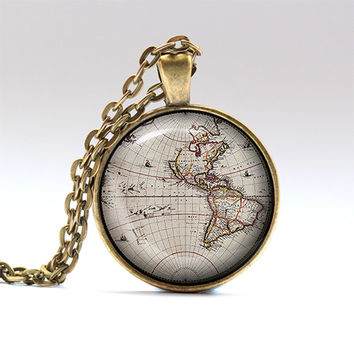 Old map necklace Map pendant Geography chain RO1366