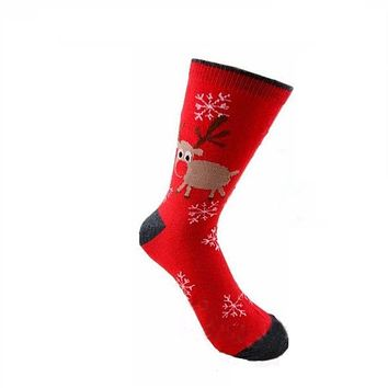 Mens Women Christmas Cotton Socks Santa Snowman Snowflake Socks Filler