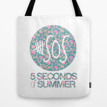 5SOS - 5 Seconds of Summer - Floral Tote Bag by Valerie Hoffmann