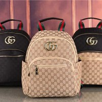 Gucci Women Shopping Leather Backpack 1911#