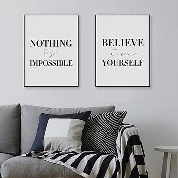 Modern Black White Motivation Believe Quotes Big Art Print Poster Wall Picture Canvas Painting Nordic Living Room Decor No Frame