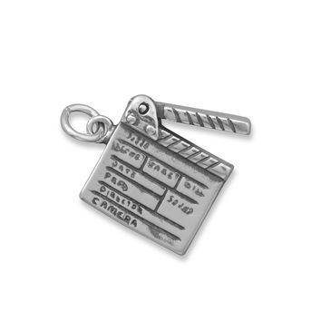 Oxidized Movie Clapboard Charm Silver Fashion Women Men Jewelry