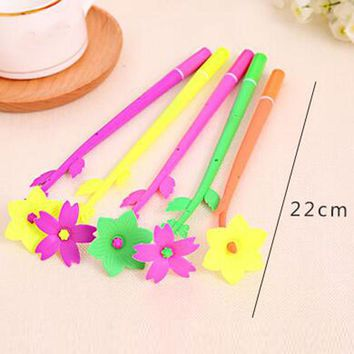 Free Shipping 16 pieces / set Gel Ink Flower Pen Cute Flower Plant Pens Gift for Kid Student Children Office & School Supplies