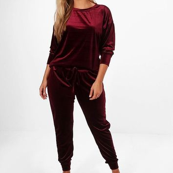 Plus Bethany Velvet Top and Sweat Pants | Boohoo