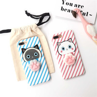 Lovely 3D cat Paws Case For iPhone 7 7Plus soft Case For iPhone 6 6S Plus 6Plus Capa Fundas cartoon female pink light blue cover