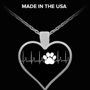 A Must Have - Dog Paw Heartbeat Necklace! dogphbn