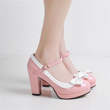 YMECHIC 2018 Lolita Lady Purple Pink Butterfly-knot Party High Heel Mary Jane Shoes Woman Platform Heels Pumps Summer Large Size