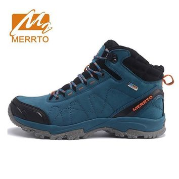 MERRTO Men's Winter & Fall Leather Waterproof Outdoor Hiking Trekking Boots Shoes Snea