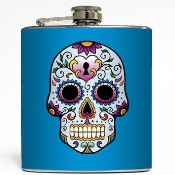 Day of the Dead Skull - Blue Flask