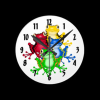 Rainbow Frogs Wall Clock