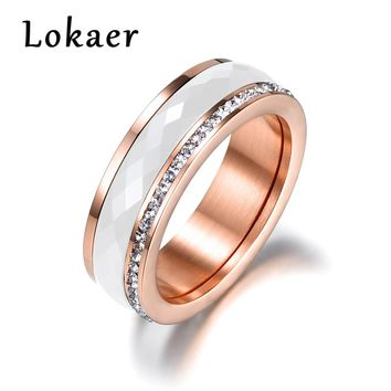 Lokaer Classic Titanium Steel White Ceramics Rings Jewelry Gold Color Cubic Zirconia Wedding Engagement Rings For Women Anneaux
