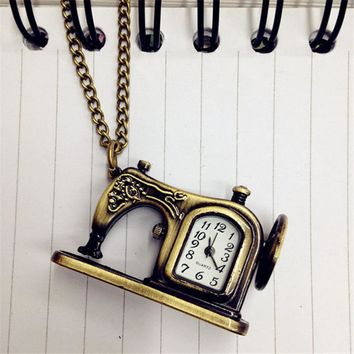 Hot Vintage Retro Antique Bronze Alloy Sewing Machines Pendant Pocket Watch Christmas Gift For Women Girls Men Relogio Feminino