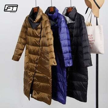 Fitaylor White Duck Down Ultra Light Jacket Women Winter Double Sided Slim Down Coat Single Breasted Parkas