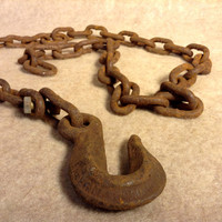 Antique Heavy Iron Chain with Hook - Logging, Farming, Marine, Industrial - Rustic Decor - Rusty Color - 52 Inches Long
