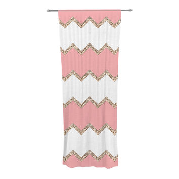 "Monika Strigel ""Avalon Coral Chevron"" White Blush Decorative Sheer Curtain"